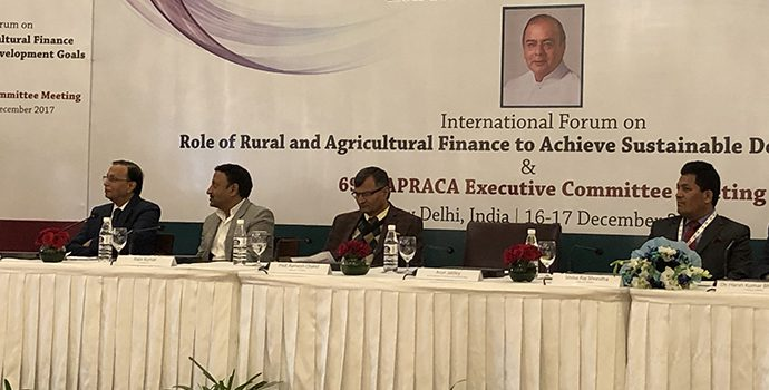 Mr. Arun Jaitley, Honorable Finance Minister, Government of India delivering the Key Note Address during the APRACA-NABARD International Forum held in New Delhi on  16 December 2017