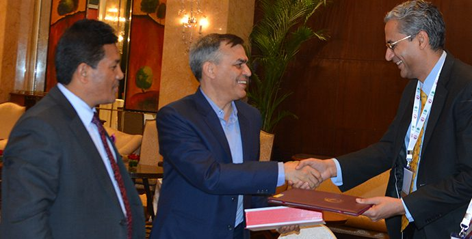 Mr. Nitin Puri, Senior President and Country Head FASAR of YES BANK Ltd. Receiving the APRACA membership plaque from Dr. Bhanwala, Chairman NABARD and Mr. Shiba Raj Shrestha, Deputy Governor, Nepal Rastra Bank and APRACA Chairman