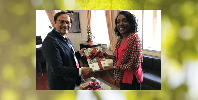 APRACA Secretary General calls on to Ms. Kundhavi Kadiresan ADG of FAO-RAP on 21 December 2017 and appraise her on the annual activities conducted by APRACA