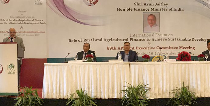 Mr. S K. Pattanayak, Secretary Ministry of Agriculture, Government of India delivering valedictory address on 17 December 2017 to mark the celebration of 40 years of services of APRACA to the Asia-Pacific region.