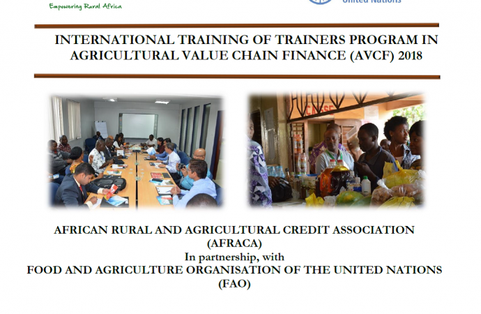 AFRACA International Training of Trainers in Agricultural Value Chain Finance 2 to 6 July 2018 Rabat, Morocco