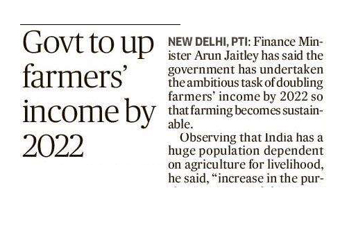 Govt to up farmers income by 2022