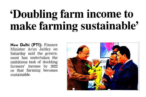 Doubling farm income to make farming sustainable