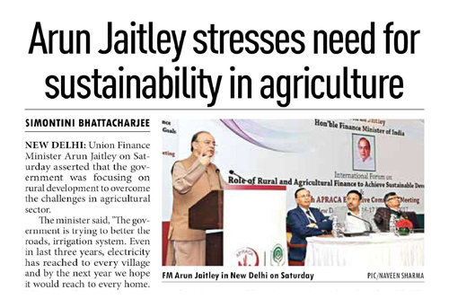 Arun Jaitley stresses need for sustainability in agriculture