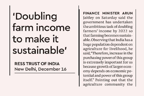Doubling farm income to make it sustainable