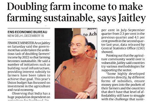 Doubling farm income to make farming sustainable, says