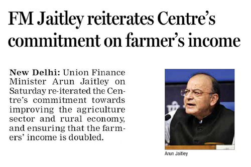 FM Jaitley reiterates Centre's commitment on farmer's income