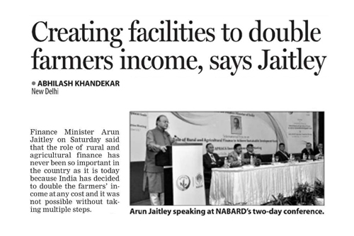 Creating facilities to double farmers income, says Jaitley