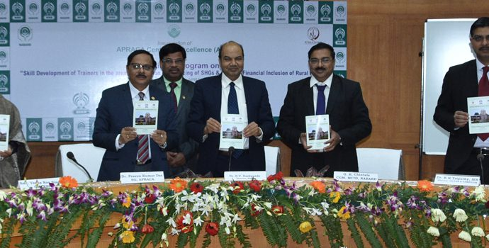 Dignitaries from Reserve Bank of India, NABARD, VAMNICOM, SLBC-Uttar Pradesh and APARCA are introducing the programme schedule of APRACA Centre of Excellence.