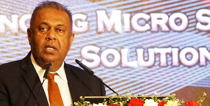 Mr. Mangala Samaraweera, Minister of Finance and Mass Media, Government of Sri Lanka addressing the delegates of APRACA regional forum held in Hilton, Colombo on 8 October 2018.