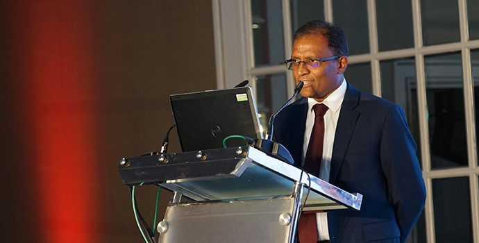Mr. Senarath Bandara, CEO of Bank of Ceylon and APRACA Vice Chairman addressing the delegates of APRACA regional forum held in Hilton, Colombo on 8 October 2018.