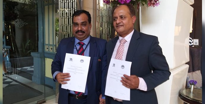 Mr. Anil K Upadhyay, CEO of ADBL, Nepal and Mr. N P Mohapatra, CGM of NABARD, India signed the MOU for mutual Cooperation at the sideline event during Global dissemination workshop held in Bangkok on 24 January 2019