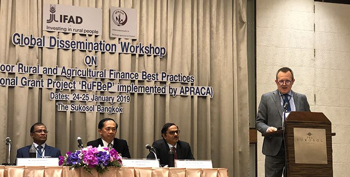 Mr. Nigel Brett, Director (Asia-Pacific), IFAD addressing the delegates of IFAD-APRACA Global dissemination workshop held in Bangkok during 24-25 January 2019
