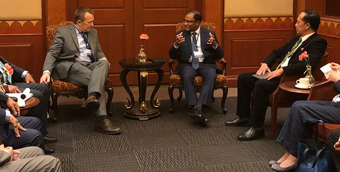 Mr. Senarath Bandara, APRACA Chairman and CEO, Bank of Ceylon and other APRACA EXCOM members discussing areas of cooperation with Mr. Nigel Brett, Director IFAD.