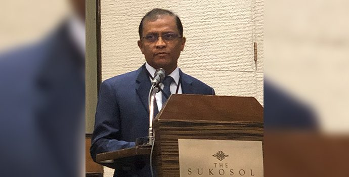 APRACA Chairman Mr. Senarath Bandara addressing the delegates of IFAD-APRACA Global dissemination workshop in Bangkok on 25 January 2019