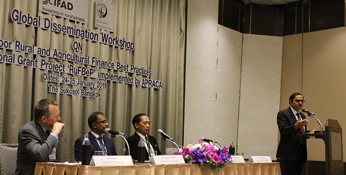 Dr. Prasun Kumar Das, APRACA Secretary General welcomed the delegates and delivering vote of thanks during the IFAD-APRACA Global dissemination workshop on 25 January 2019.