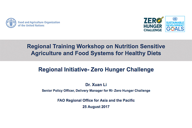 Regional Training Workshop on Nutrition Sensitive Agriculture and Food Systems for Healthy Diets