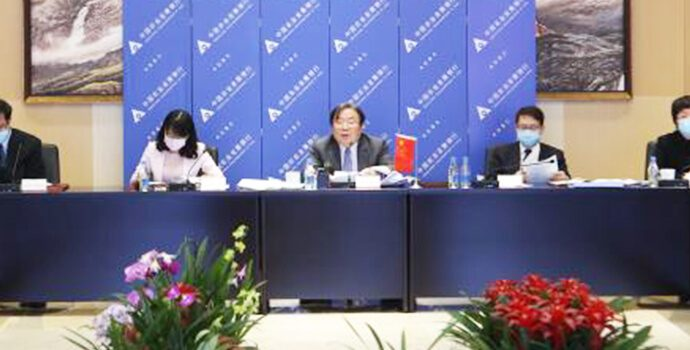 Mr. Zhang Wencai, Vice President, ADBC and his colleagues participating in APRACA General Assembly meeting on 5 March 2021.