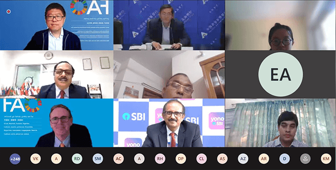 Distinguished speakers from the State Bank of India, Agricultural development Bank of China and FAO during CABFIN-APRACA Webinar on Digital Finance to smallholder farmers and Agri-SMEs.