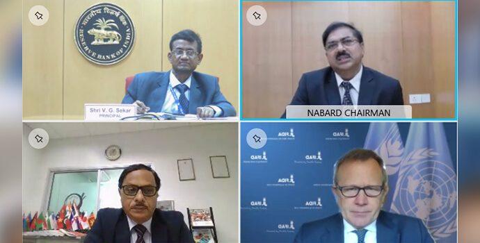 Inaugural Session of international symposium addressed by Dr. G R Chintala, Chairman NABARD and APRACA Chairman alongside Mr. V G Sekar, Principal of CAB, Mr. Nigel Brett, Director of IFAD and Dr. Prasun Kumar Das, Secretary General of APRACA